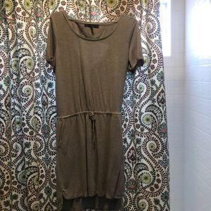 Grey drawstring belt dress